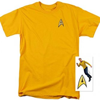 Popfunk Star Trek Uniform T Shirt w/Liquid Gold Ink & Exclusive Stickers