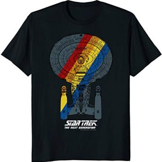 Star Trek Next Generation Retro Rainbow Ship Graphic T-Shirt